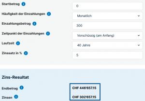 Vorsorge Schweiz ajooda 25 Jähriger - 300Fr