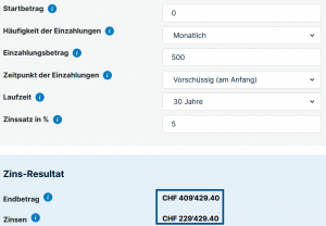Vorsorge Schweiz ajooda 35 Jähriger - 500Fr