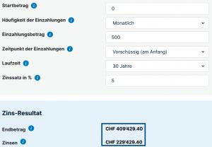 Vorsorge Schweiz 35 Jähriger - 500Fr
